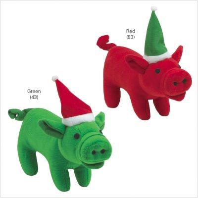 Zanies Christmas Holiday Red Plush Santa Pig Dog Toy 8.5″, My Pet Supplies