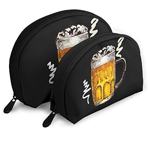 Portable Shell Makeup Storage Bags Beer On Draft Graphic Travel Waterproof Toiletry Organizer Clutch Pouch for Women