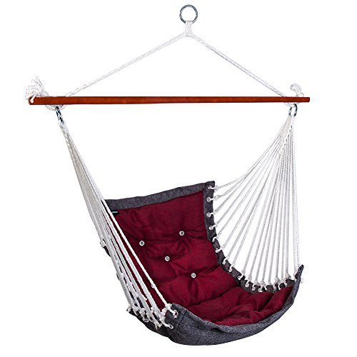 SUNMERIT Hanging Rope Hammock Chair Swing Seat for Indoor or Outdoor Spaces,300 lbs Capacity (Dark red)