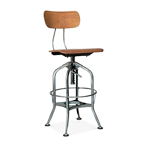 Design Lab MN LS-9199-NATGUN Industrial Toledo Adjustable High Back Bar Chair, Natural Gunmetal