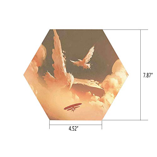 Hexagon Wall Sticker,Mural Decal,Fantasy Art House Decor,Phoenix Bird Shaped Fluffy Cloud in Sunset with Plane Freedom Paint,Cream Blue,for Home Decor 4.52x7.87 10 Pcs/Set ()