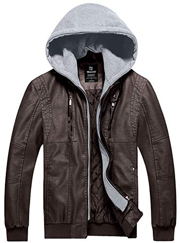 (Wantdo Men's Fashion Faux Leather Jacket Moto Hoodie Outwear Warm Dark Brown S)