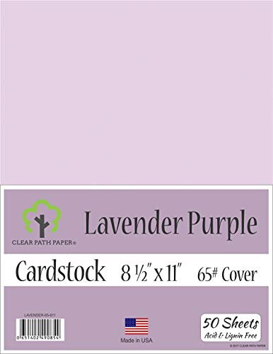 Lavender Purple Cardstock - 8.5 x 11 inch - 65Lb Cover - 50 Sheets