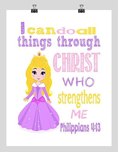 Aurora Christian Princess Nursery Decor Art Print - I Can Do All Things Through Christ Who Strengthens Me - Philippians 4:13 Bible Verse - Multiple - Aurora Premium