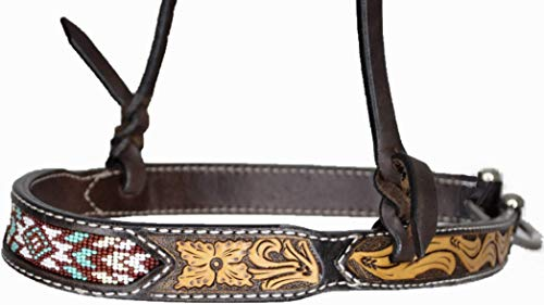 (Oxbow Tack Cheyenne Beaded Leather Tack Set Matching Headstall Breast Collar Spur Straps Tie Down Noseband (Cheyenne Noseband Tie Down) )