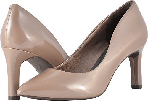 Rockport Womens Total Motion Luxe Valerie Pump Taupe Grey/Pearl Patent 10 W - Patent Taupe Footwear