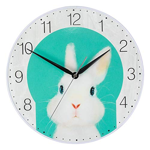 KI Store Kids Wall Clock Decorative 12-Inch Silent Non Ticking Cute Wall Clock Battery Operated Bedroom Office Kitchen (Bunny)