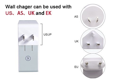 AFENDO Universal International 25W / 5.0A Max 4-Port USB Home Wall Desktop AC Power Travel Adapter Charger for iPhone, Android Phones, Tablets, Bluetooth Speakers, Bluetooth Earphones and Other 5V Devices, Full-speed Charging, includes 4 AC plugs (US/JP, UK, EU, AU)-White (Unlock Service Iphone Japan compare prices)