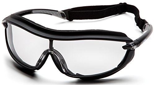 (Pyramex XS3 Plus Safety Eyewear, Clear Anti-Fog Lens With Black Frame And Cord)