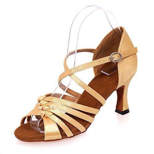 Chaussures artificiel En Pour L De Ballroom avec Satin YC Couleur Cuir gold Femmes Danse Cuba Latin Sandales R7xgqw5ng