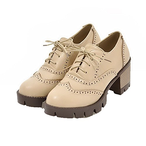 Weenfashion Donne Stringate Pompe Tacchi Alti toe Delle Albicocca scarpe Scacchi Pu Round q58dxO