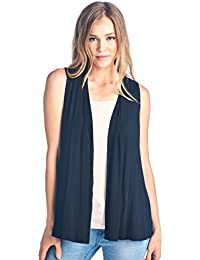 df89ac600388c Extra Soft Solid Sleeveless Bamboo Vest Cardigan Sweater for Women -Made in  USA