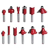 """1/4"""" Shank Woodworking Tungsten Carbide Tipped Router Bit Set DIY Tool Kit with Wooden Case Set of 12pcs"""