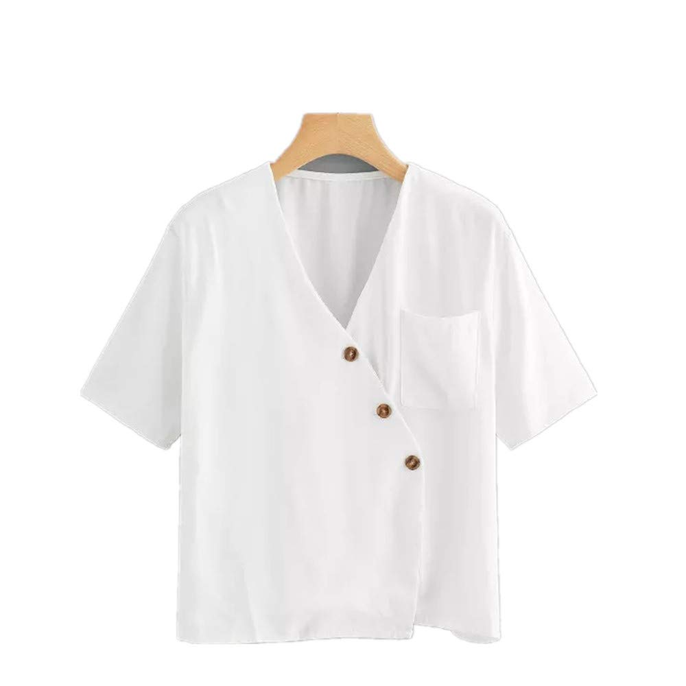 Women T-Shirts Casual Short Sleeve Lady V Collar Short Sleeve Button Top White