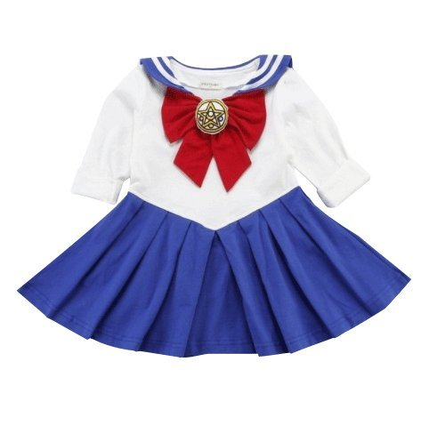 P's-JAPAN Sailor Moon Anime Cosplay Costume Toddler Girls One Piece Dress (Blue, 100(3T-4))
