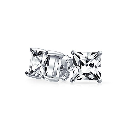 Princess Solitaire Pierced Earrings - 2.05 CT Square CZ Solitaire Stud Earrings Princess Cut Promg Set 925 Sterling Silver 7mm