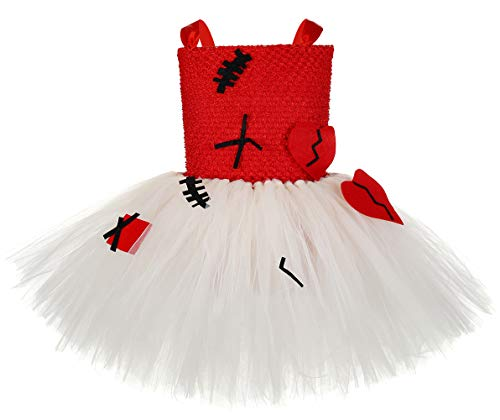 Halloween Voodoo Doll Tutu Dress Gothic Costumes for Girls Birthday Scary Horror Party Role Play Costume for Kids Small]()
