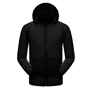 Amazon.com : Waterproof Unisex Black Jacket Lightweight Windproof ...
