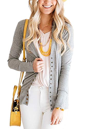 PAPOSON Women's Long Sleeve Cardigan Soft Cotton V-Neck Button Down Front Sweaters Knitwear (Grey,M)