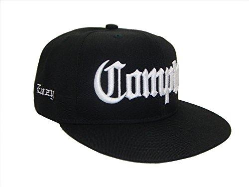 THS Compton Eazy E Flat Bill Snapback Flat Bill Cap (One Size, Black / (Compton Hat Eazy E)
