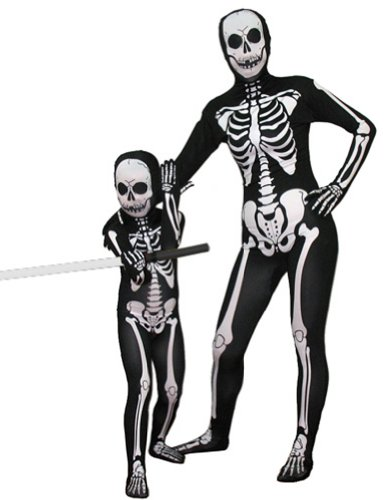 SecondSkin Men's Full Body Spandex/Lycra Suit, Skeleton, Kids L (Kids Mummy Costumes)