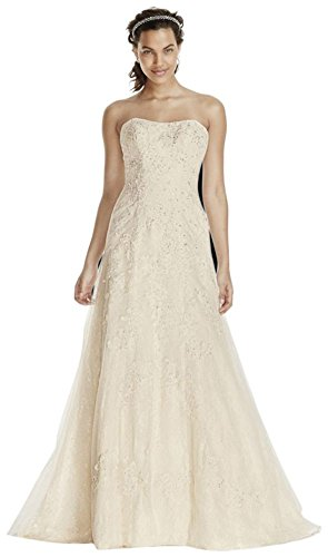 Jewel Lace A-Line Wedding Dress With Beading Style WG3755, White, 4