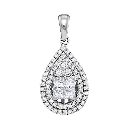 14kt White Gold Womens Princess Diamond Teardrop Cluster Pendant 1.00 Cttw 14kt Gold Cluster Drop Necklace