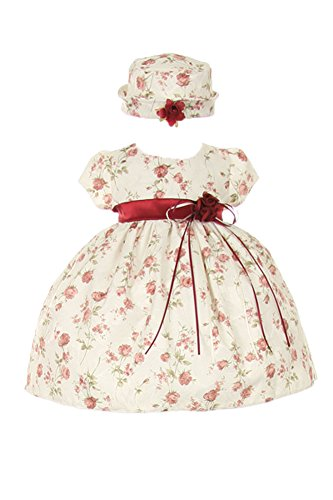 - CinderellaCouture-ME839-rose printed jacquard baby dress, burgundy, size L