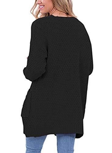 Cappotto Elegante Tempo Lunga Manica Confortevole Cardigan Libero A Monocromo Maglia Tasche Moda Mode Donna Maglioni Marca Casual Di Giacca Lunghi Anteriori Autunno 7wdCqxH