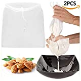 "2 Pcs Pro Quality Nut Milk Bag - Big 12""X12"" Commercial Grade - Reusable Almond Milk Bag & All Purpose Food Strainer - Fine Mesh Nylon Cheesecloth & Cold Brew Coffee Filter"