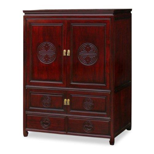 (ChinaFurnitureOnline Hand Crafted 39in Longevity Design Rosewood TV Cabinet - Dark Cherry)