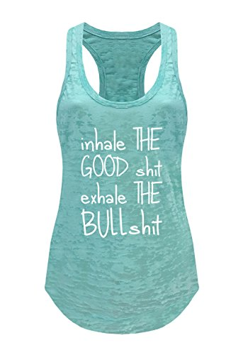 Tough Cookie's Women's Yoga Burnout Inhale and Exhale Tank Top (Small - LF, Mint)