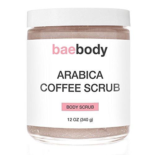 Baebody café Scrub: Best Cellulite, acné, vergetures, traitement des rides. Avec sel de la mer morte, huile d'Olive et beurre de karité. Exfoliant naturel, hydratant promotion Radiant peau 12oz.