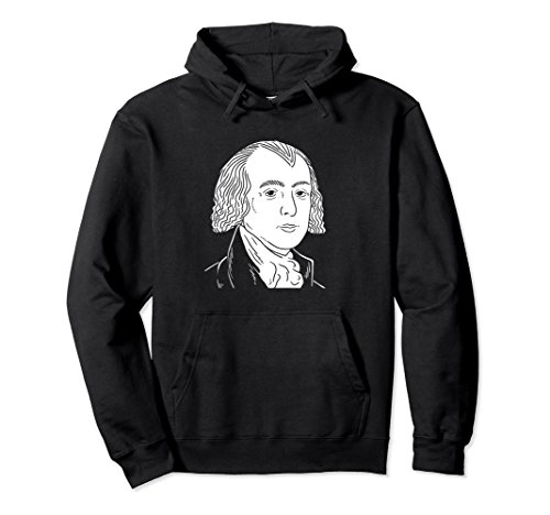Unisex James Madison Portrait Hoodie – President Gift XL: Black