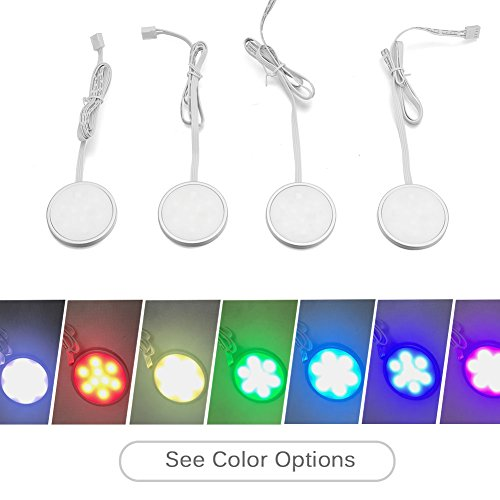 COLORHOME LED Puck Light, RGB Under Cabinet Lighting Kit with Color Changing Switch 4-PACK Color Changing Closet Lights for Home Kitchen Shelf Decoration by COLORHOME