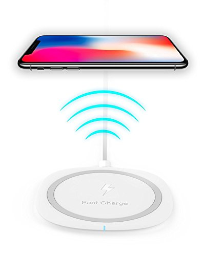 Qi Wireless Charger, iPhone X / iPhone 8 / 8 Plus, Qi Certified Fast Wireless Charging with Anti-Slip Rubber Note 8 / Galaxy S8 / S8 Plus, S7 / S7 Edge / Nokia / LG G6 / HTC 8x and Qi-Enabled Devices