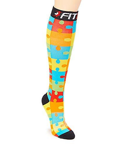 FDX 20-30mmHG Jigsaw Puzzle Premium Grade Compression Recovery Support Socks (L/XL) (Adult Go Ped)