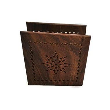 StarZebra Gift Ideas - Wood Luncheon Handmade Napkin Holder - Decorative Dining Centerpiece Napkin Organizer
