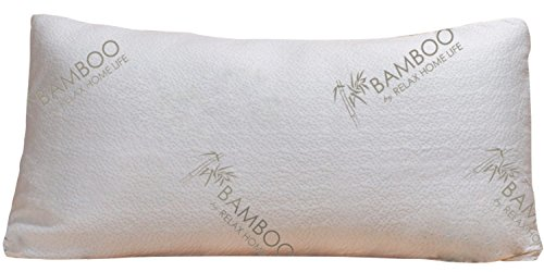 Bamboo Pillow   Shredded Memory Foam   KING   Stay Cool Removable Bamboo Cover   Hypoallergenic and Dust Mite Resistant   Best Pillow for Stomach, Back, and Side Sleepers   Relax Home Life (King)