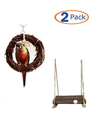 Parrot Toys Bird Hanging Toy Bird Swing Bird Chewing Toy Bird Hammock Swing for Cockatiels Wood Bird Swing Bird Platform Swing Rattan Hoop Chew Toy For Birds (Swings Rattan)