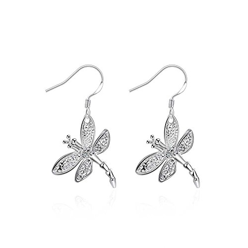 [SDLM Womens Sterling Silver Plated Jewelry Dragonfly Hook Earrings,Dangle] (Firefly Kids Costumes)