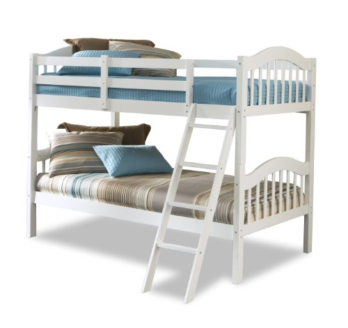 - Storkcraft Long Horn Solid Hardwood Twin Bunk Bed, White Twin Bunk Beds for Kids with Ladder and Safety Rail