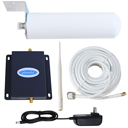 Phonelex GSM WCDMA 3G 4G 2100MHz Mobile Phone Signal Booster Cell Amplifier Repeater for Band 1 with Indoor Whip and Outdoor Omni-Directional Antennas Kit for Home Basement by phonelex