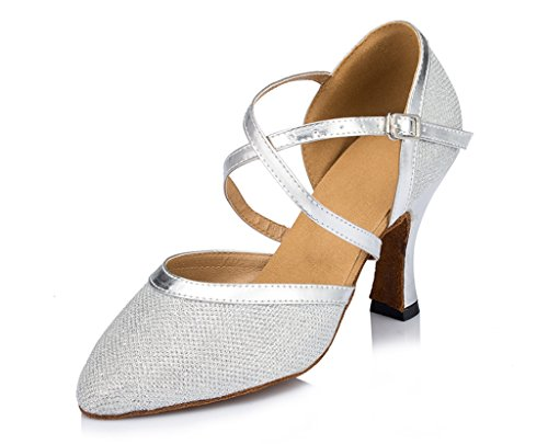 Synthetic Dance Salsa Party Ballroom Morden Sparkle Stylish Professional Tango Womens Latin Toe Round CRC Material Shoes Silver Wedding wxznYZg7zq