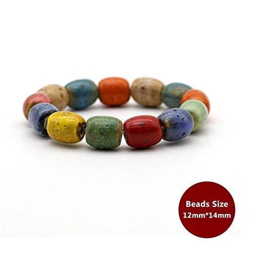 Hot Sale Heart Shaped Vintage Beads Lady Bracelet Bohemia Ceramic Stone Charm Women Bangles Fashion Christmas Gift ()