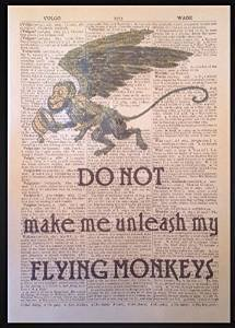 Wizard Of Oz Flying Monkeys Quote Vintage Dictionary Page Print Picture Wall Art (Flying Monkeys In Wizard Of Oz)