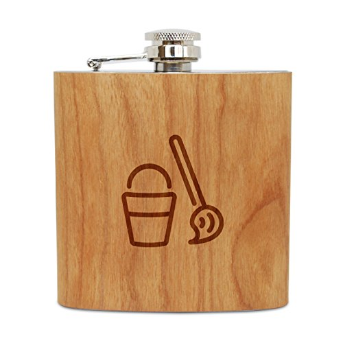 - WOODEN ACCESSORIES COMPANY Cherry Wood Flask With Stainless Steel Body - Laser Engraved Flask With Mop And Pail Design - 6 Oz Wood Hip Flask Handmade In USA