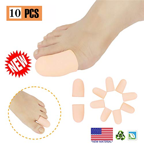 Gel Toe Caps Toe protectors Toe Sleeves,NEW MATERIAL,for Blisters, Corns, Hammer Toes, Ingrown Toenails, Toenails Loss, Friction Pain Relief and More (10 Pcs Nude)