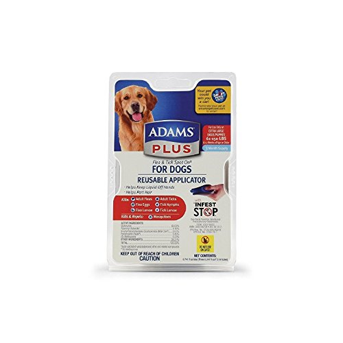 Adams Plus Flea and Tick Spot On for Dogs, Extra Large Dogs 61-150 Pounds, 3 Month Supply, With (Adams Flea Treatment)