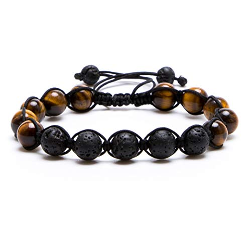 (Bivei Lava Rock Stone Aromatherapy Essential Oil Diffuser Braided Woven Adjustable Natural Gemstone Beads Crystal Bracelet(Tiger Eye Stone))